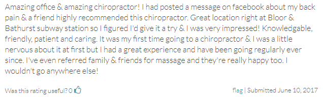 Chiropractic The Annex ON Testimonial